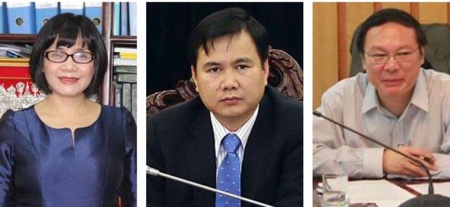 Từ trái sang, bà Đặng Hoàng Oanh, ông Bùi Thế Duy, ông Lê Công Thành là các Thứ trưởng mới được bổ nhiệm của các Bộ