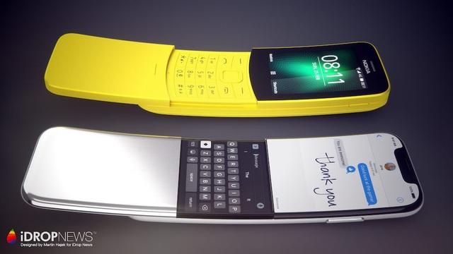 iPhone X nắp trượt và uốn cong nhẹ lấy ý tưởng như chiếc Nokia 8100.
