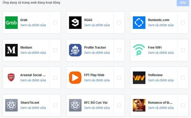 """Danh sách các ứng dụng đã cài đặt trên Facebook. Nhấn vào mục """"Xem và chỉnh sửa"""" để xem quyền hạn của từng ứng dụng"""