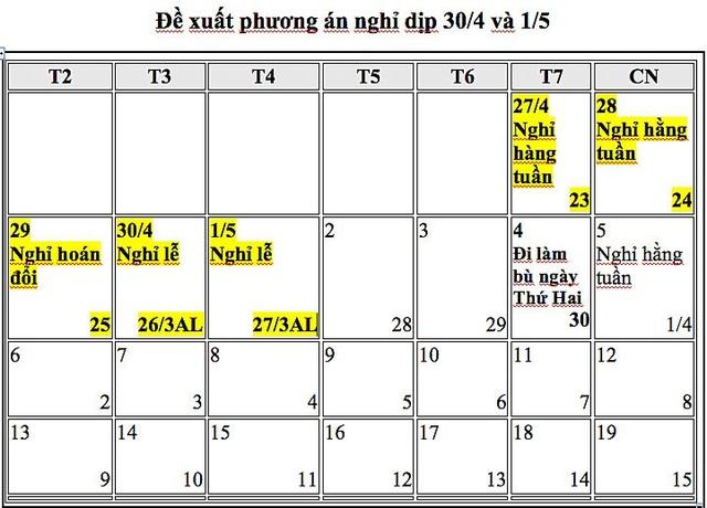 Bộ LĐ-TB&XH đề xuất thực hiện lịch nghỉ lễ theo phương án 5 ngày.