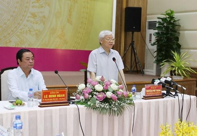 Tổng Bí thư Nguyễn Phú Trọng phát biểu tại buổi làm việc với Ban Thường vụ Tỉnh ủy và lãnh đạo chủ chốt tỉnh Đồng Tháp. (Ảnh: Trí Dũng/TTXVN)