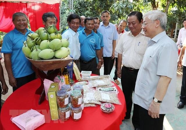 Tổng Bí thư Nguyễn Phú Trọng xem các loại hoa quả và sản phẩm nông nghiệp tại Tâm Quê Hội Quán, xã Tân Thuận Tây, thành phố Cao Lãnh, tỉnh Đồng Tháp. (Ảnh: Trí Dũng/TTXVN)