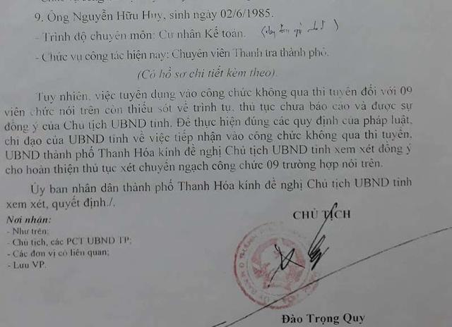 Trong văn bản gửi UBND tỉnh Thanh Hóa, ông Quy cũng thừa nhận: Việc tuyển dụng vào công chức không qua thi tuyển đối với 9 viên chức trên còn thiếu sót về trình tự, thủ tục chưa báo cáo và được sự đồng ý của chủ tịch UBND tỉnh.