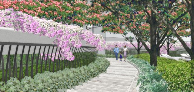 Hàng rào tự nhiên được làm từ các bồn hoa tươi xinh đẹp nhằm đảm bảo sự riêng tư cho chủ nhân Pool Villa