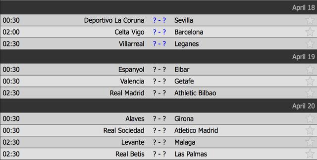 Lịch thi đấu vòng 33 La Liga