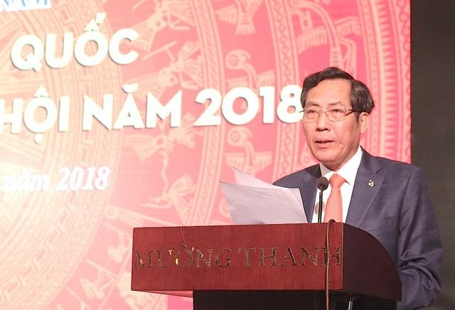 Ông Thuận Hữu - Chủ tịch Hội Nhà báo Việt Nam, Tổng biên tập Báo Nhân dân phát biểu tại Hội nghị.
