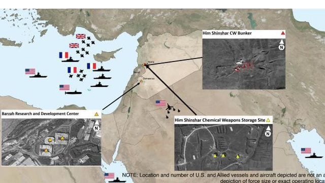 Bản đồ chỉ vị trí tấn công của các tàu và máy bay của Mỹ, Anh, Pháp trong cuộc không kích ngày 14/4 (Ảnh: AP)