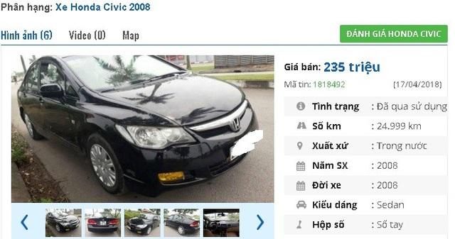 Chiếc Honda Civic đời 2008, màu đen này đang cần bán gấp, với mức giá rao bán là 235 triệu đồng. Xe được giới thiệu là máy gầm êm, điều hoà rét, nội ngoại thất sạch sẽ. Xe mua về có thể sử dụng ngay.
