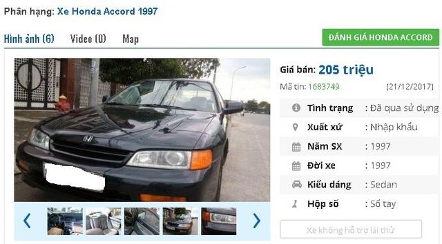 Một chiếc Honda Accord đời 1997, xe nhập đang được chủ nhân rao bán giá 205 triệu đồng. Xe được bảo hành 1 năm.