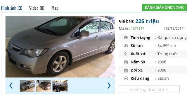 Chiếc ô tô Honda Civic đời 2008, màu bạc này có giá bán 255 triệu trên thị trường Việt. Xe được quảng cáo là chính chủ đi giữ gìn, cẩn thận, ít va chạm.