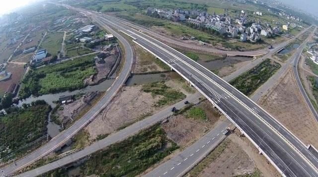 Một đoạn cao tốc Long Thành – Dầu Giây nhìn từ trên cao