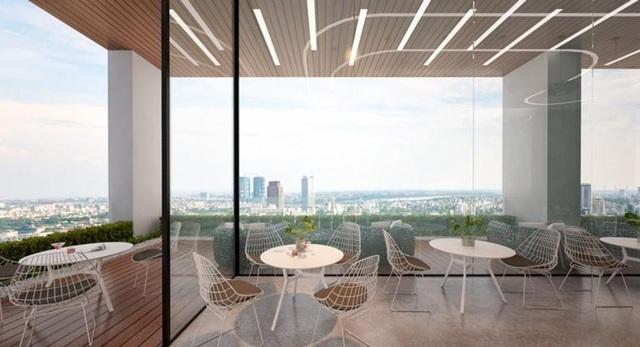 Tầng Sky garden trên mái của dự án Riverside Garden được bố trí đầy đủ vườn nướng BBQ, khu vui chơi, tập thể dục…