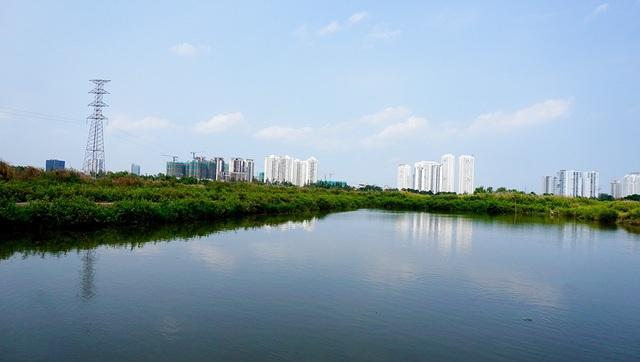 Nhìn từ khu đất có thể thấy được các tòa chung cư cao tầng.
