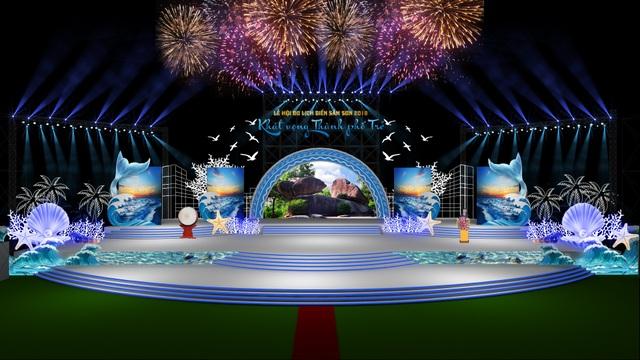 Mô hình sân khấu của Lễ hội du lịch biển Sầm Sơn 2018.