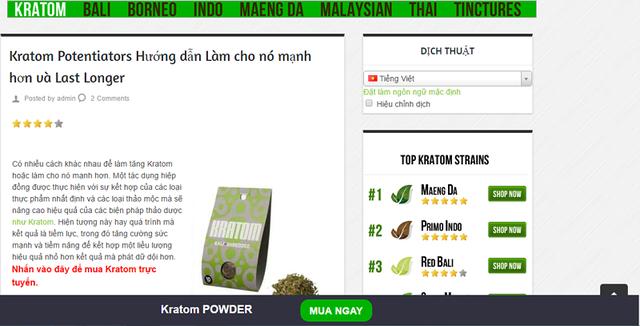 Một trang bán kratom online. Ảnh: HL