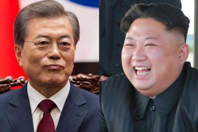 Tổng thống Hàn Quốc Moon Jae-in (trái) và nhà lãnh đạo Triều Tiên Kim Jong-un (Ảnh: ABC News)