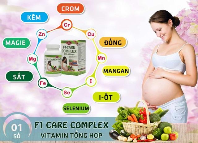 Thực phẩm bảo vệ sức khỏe viên nang F1 Care Complex giúp bổ sung vitamin, khoáng chất cần thiết cho sức khỏe thai phụ; nâng cao sức đề kháng của cơ thể. Ngoài ra sản phẩm còn giúp hỗ trợ giảm các triệu chứng của thai kỳ như ốm nghén, buồn nôn, chuột rút chân tay, thiếu máu thai kỳ.