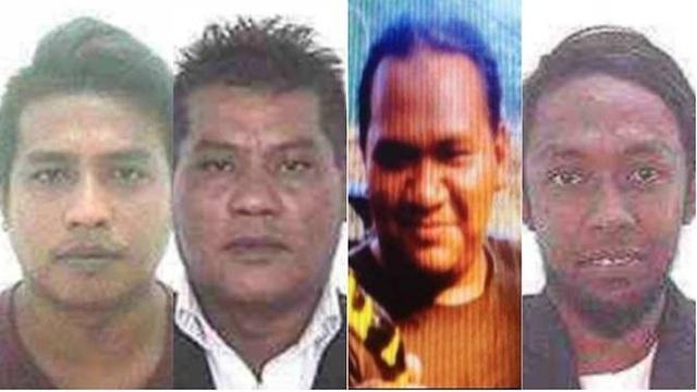 4 nghi phạm IS bị Malaysia truy lùng. Đối tượng Awae Wae-Eya (thứ 2 từ phải sang) đã bị cảnh sát Thái Lan bắt giữ và thả ra sau đó. (Ảnh: Cảnh sát Hoàng gia Malaysia)