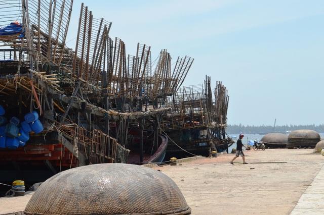 Tàu câu mực neo đậu ở cảng sau chuyến đi biển dài ngày
