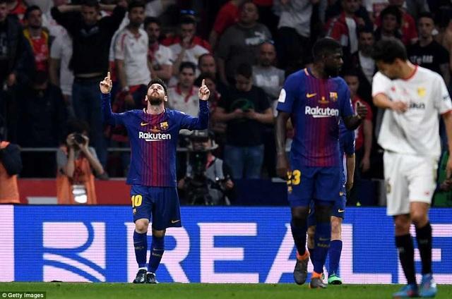 Trước đó ở phút 31, Lionel Messi nhân đôi cách biệt lên 2-0 cho Barcelona