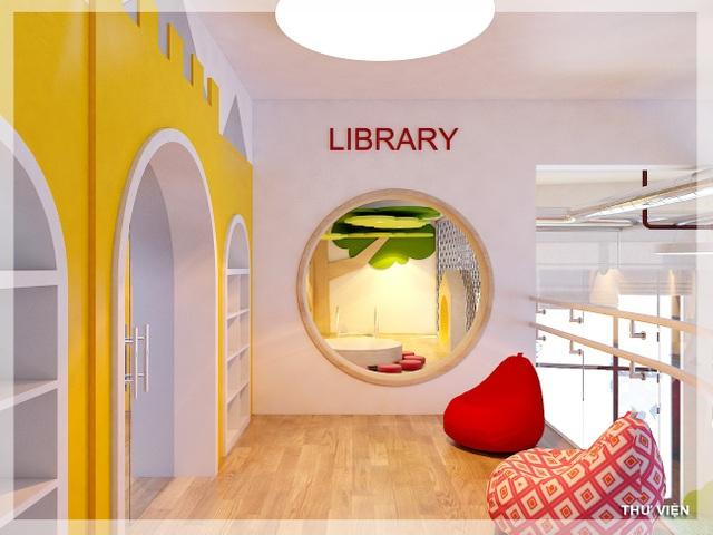Hình ảnh thư viện xinh xắn tại khuôn viên trường mầm non Sunshine Maple Bear ở dự án Sunshine Palace.