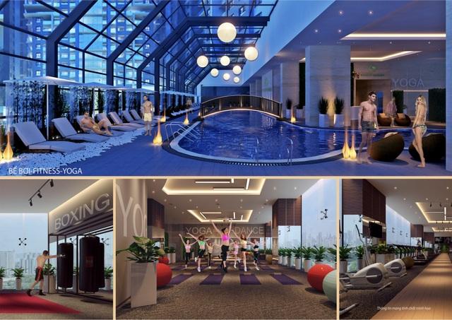 Các tiện ích tích hợp tại Gold Tower như bể bơi bốn mùa trong nhà, phòng tập Gym, Yoga, spa, rạp chiếu phim CGV...