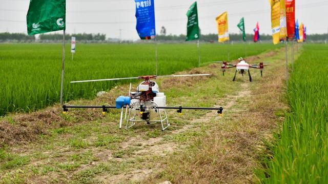 Hai chiếc máy bay không người lái (drone) vừa được thử nghiệm khả năng phun thuốc trừ sâu trên đồng lúa ở Bắc Ninh. Được biết, hai chiếc drone này do một đơn vị hoạt động trong lĩnh vực nông nghiệp nhập từ nước ngoài về Việt Nam với mục đích thử nghiệm công cụ hỗ trợ làm nông nghiệp hiện đại.