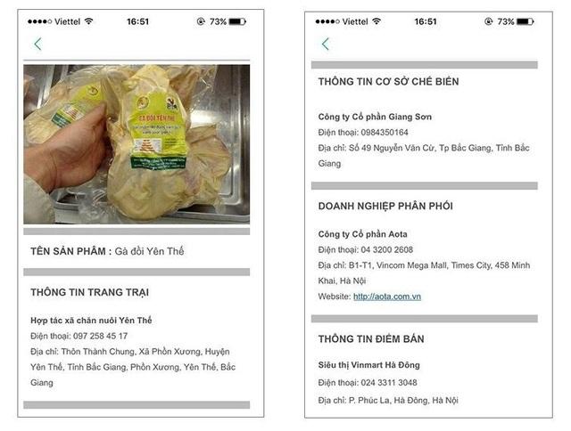 Thông tin về thực phẩm hiển thị trên màn hình sau khi quét mã QR Code của iCheck (Ảnh: iChecksale.com.vn)