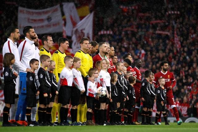 Đội hình xuất phát của AS Roma và Liverpool ở trận bán kết lượt đi Champions League tại Anfield