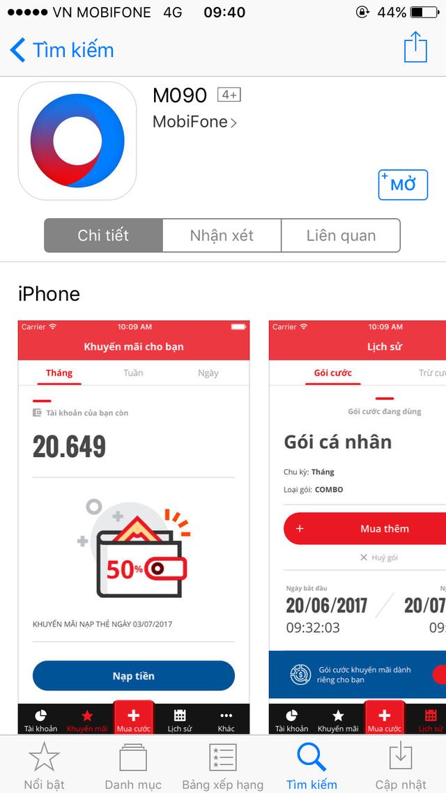 MobiFone cung cấp ứng dụng đăng ký các gói cước siêu tiện lợi - 1