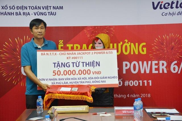 Chủ nhân giải thưởng gần 67 tỷ đồng trao 150 triệu đồng cho các chương trình từ thiện và an sinh xã hội.