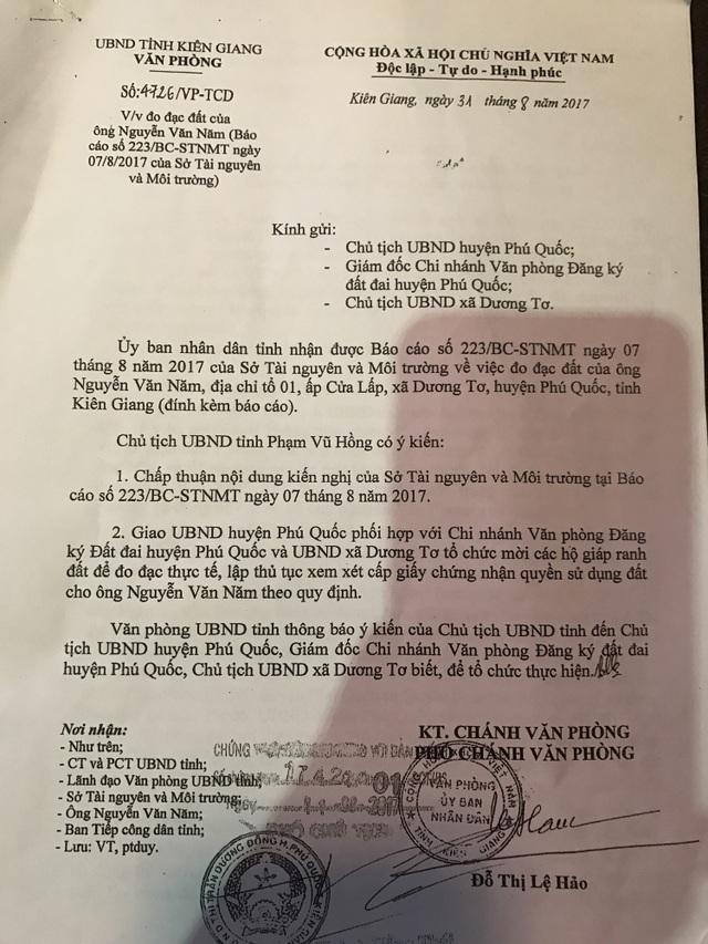 Chủ tịch UBND tỉnh Kiên Giang đã có văn bản chấp thuận kiến nghị của Sở TNMT tỉnh.