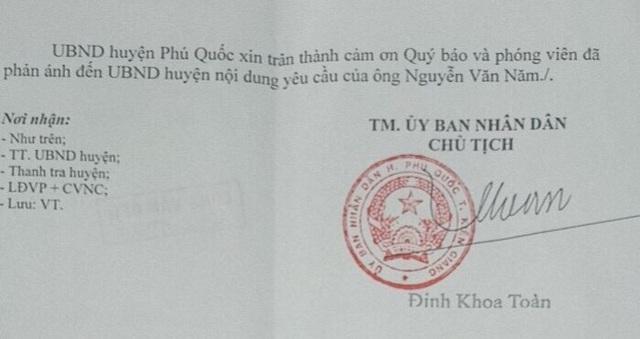 Công văn trả lời báo chí của Chủ tịch UBND huyện Phú Quốc.