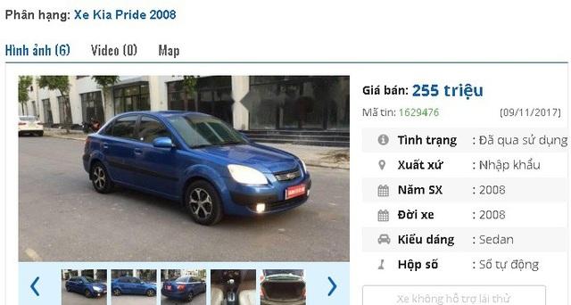 Thêm một chiếc Kia Pride LX đời 2008, màu xanh lam, nhập khẩu được rao bán tầm giá 200 triệu, với mức giá bán 255 triệu đồng.