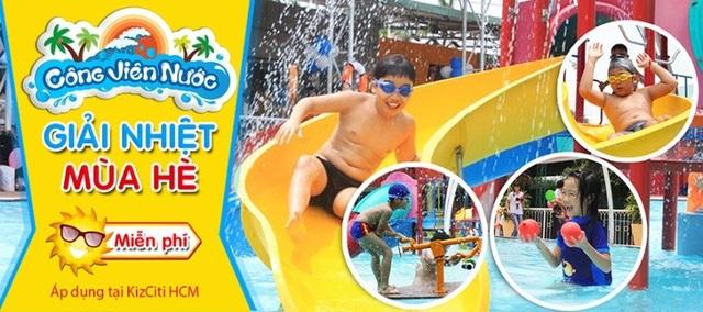 Công viên nước với bộ trò chơi liên hoàn, đảo phun nước, cầu trượt,… cho các bạn nhỏ tha hồ khám phá