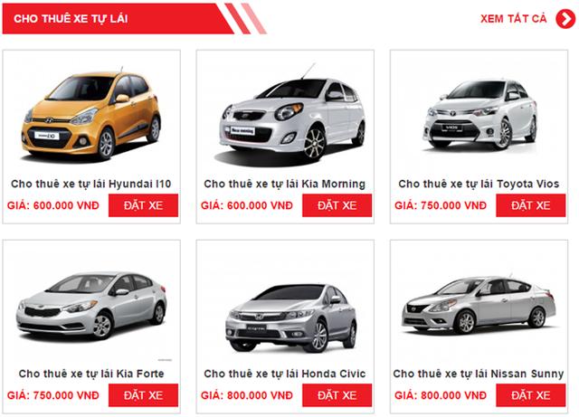 Bảng giá cho thuê xe tự lái của một công ty trên website.