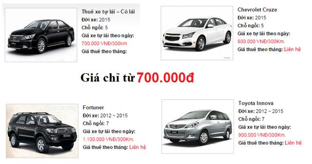 Giá cho thuê xe tự lái dao động khoảng từ 500.000 đồng đến 1,5 triệu/ngày tùy loại xe.