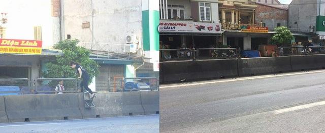 Thang sắt gắn trên dải phân cách Quốc lộ 1A, đoạn qua xã Hải Trạch, huyện Bố Trạch...