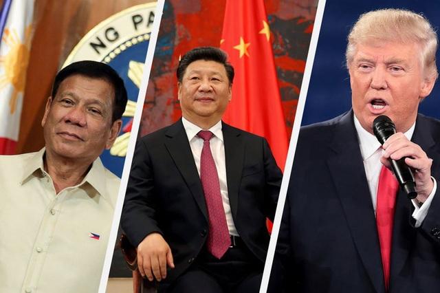 (Từ trái sang phải) Tổng thống Philippines Rodrigo Duterte, Chủ tịch Trung Quốc Tập Cận Bình và Tổng thống Mỹ Donald Trump (Ảnh: ABS-CBN News)