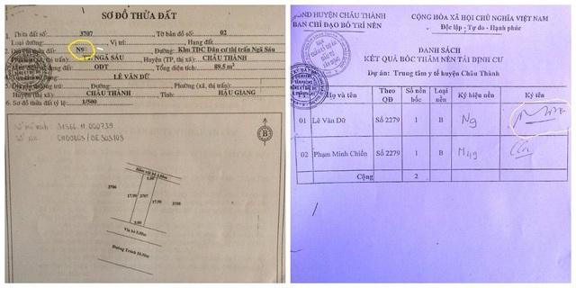 Khi trích lục hồ sơ cấp đất của mình, ông Lê Văn Dữ phát hiện tại sơ đồ đất số nền đất N90 bị cạo sửa thành N9; và kết quả bốc thăm có ai đó đã ký giã chữ ký của ông