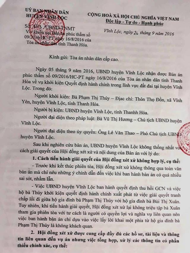 Văn bản UBND huyện Vĩnh Lộc gửi TAND cấp caokhiếu nại TAND tỉnh Thanh Hóa.