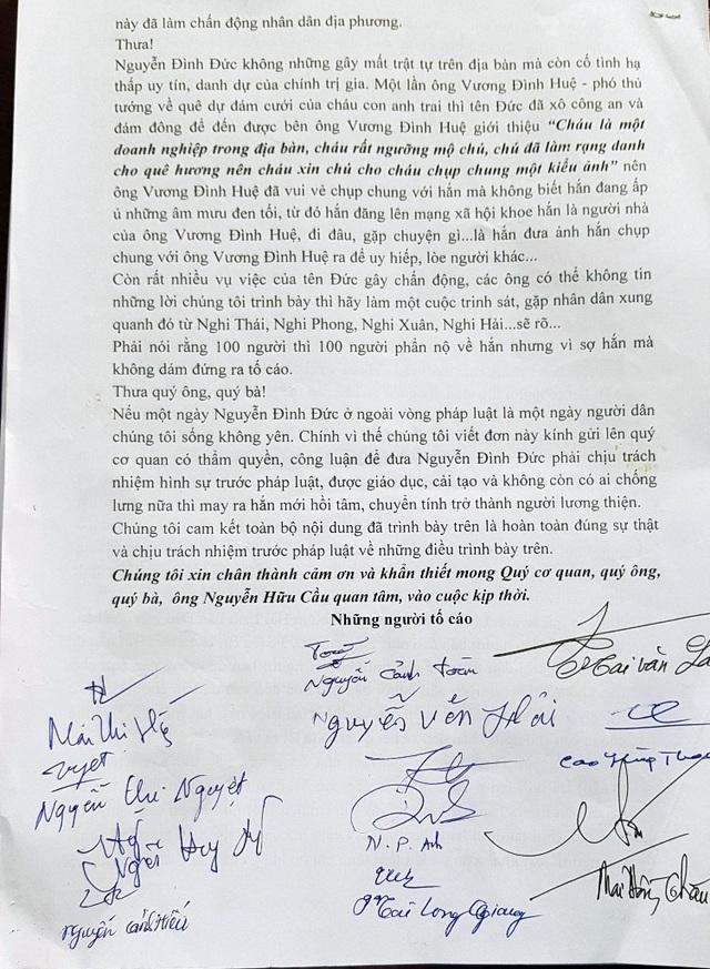 Nhiều người dân ký đơn gửi GĐ CA tỉnh Nghệ An cầu cứu.