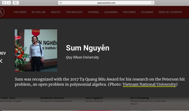 Thông tin của PGS.TS Nguyễn Sum, trường ĐH Quy Nhơn được tạp chí Asian Scientist công bố