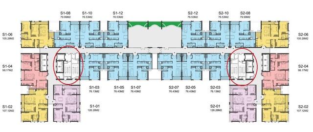 Mặt bằng tầng điển hình tòa Sachi thuộc dự án Hinode City với 4 thang thoát hiểm