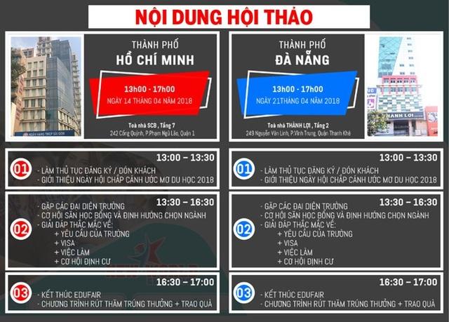 Xem thông tin học bổng, ưu đãi từng trường tham dự tại TPHCM và Đà Nẵng: http://edufair.newworldedu.vn/