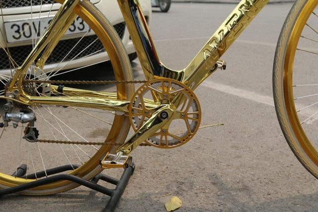 Chiếc xe có kiểu dáng thể thao, khung xe được làm bằng nhôm mạ vàng cao cấp và gia công bằng tay 100%. Ngoài ra, các chi tiết như nan hoa, vành bánh xe… cũng được mạ vàng trở nên nổi bật, độc đáo.