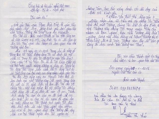 Lá thư cảm ơn của anh Thịnh gửi tới em Đạt và nhà trường.