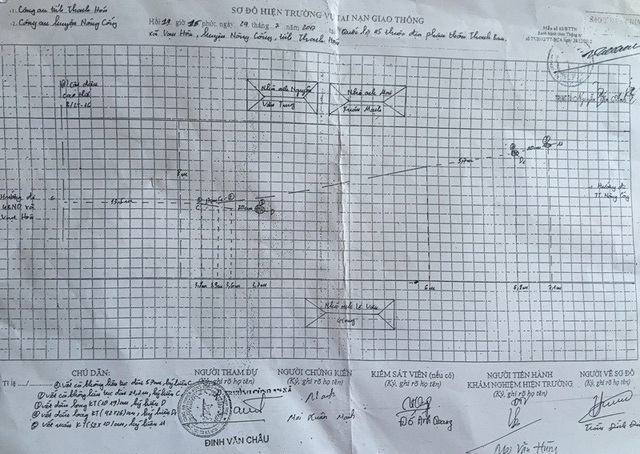 Biên bản và sơ đồ hiện trường có chữ ký của anh Mai Xuân Mạnh, ở thôn Thanh Ban, xã Vạn Hòa, huyện Nông Cống