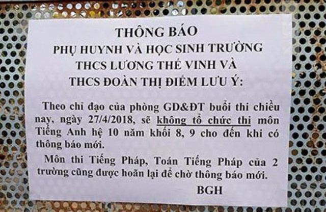 Thông báo hoãn thi của của các trường cấp THCS trên địa bàn quận Ninh Kiều hôm 27/4