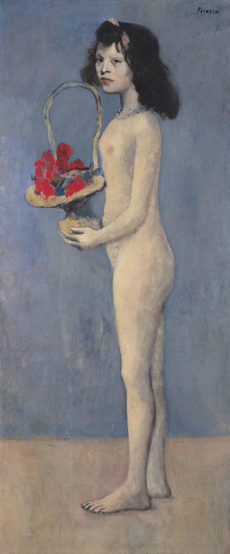 """Bức """"Fillette à la Corbeille Fleurie"""" (Cô gái mang giỏ hoa - 1905) của danh họa người Tây Ban Nha Pablo Picasso"""